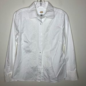 Talbots White Button-Down with Lace Detailing 06
